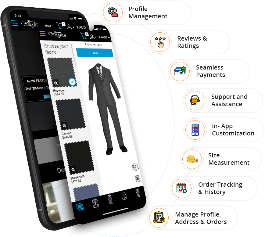User App Features - eTailoring App